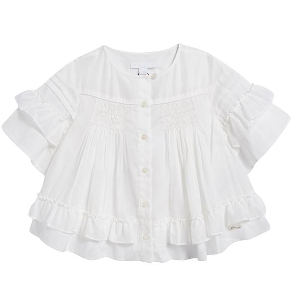 Girls White Cotton Bloues