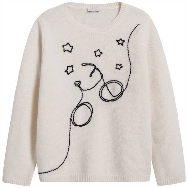 Girls White Embroidered Wool Sweater