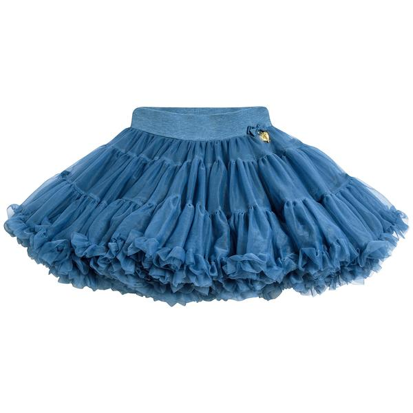 Girls Denim Blue Nylon Knitted Skirt