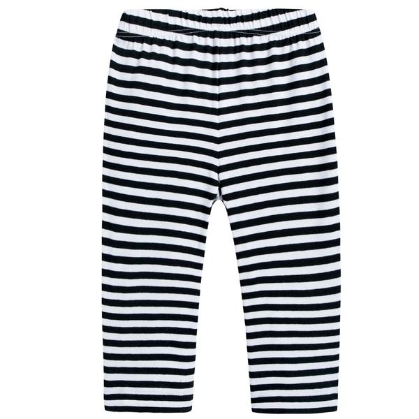Girls Black & White Striped Pants