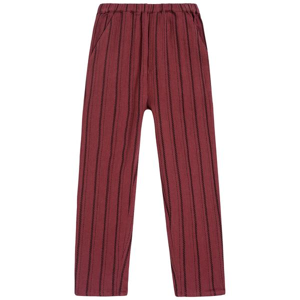 Girls Brick Red Stripe Cotton Trousers