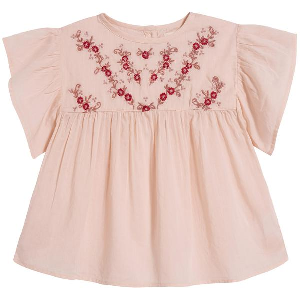 Girls Pink Embroidered Cotton Top