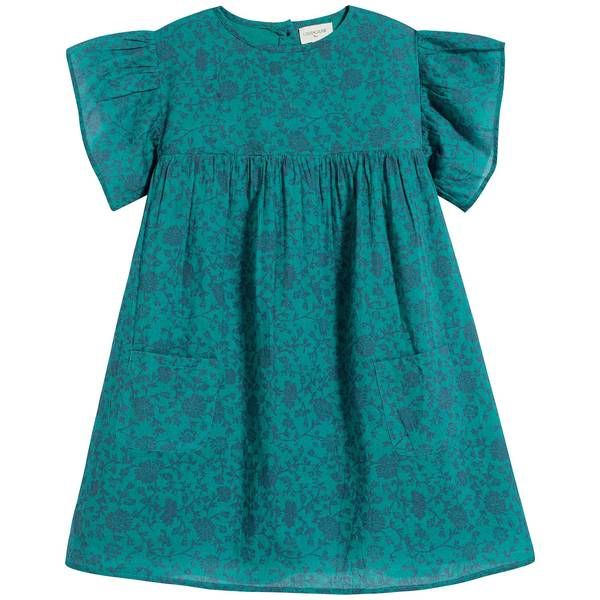 Girls Green Floral Cotton Dress