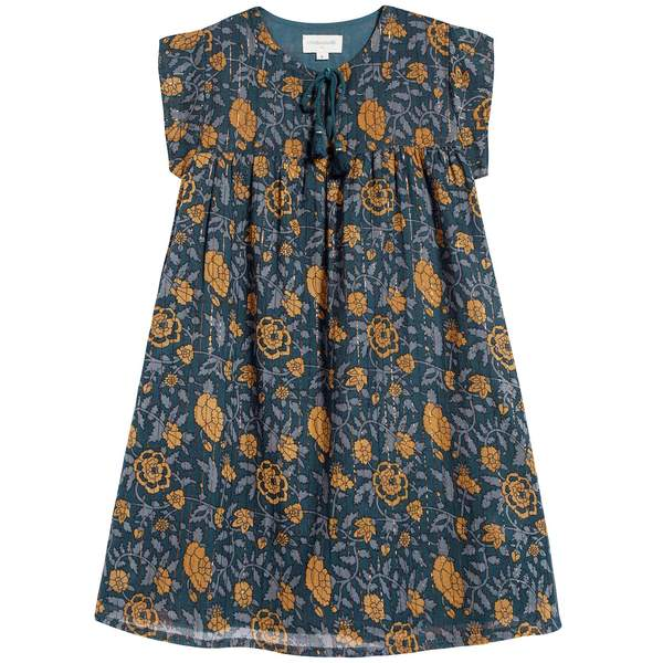 Girls Blue & Yellow Flowers Cotton Dress