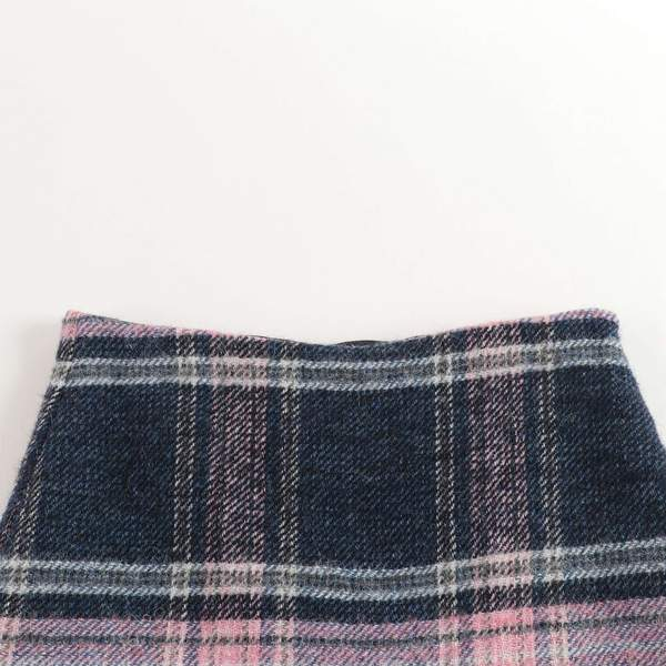 Girls Blue Check Wool Skirt