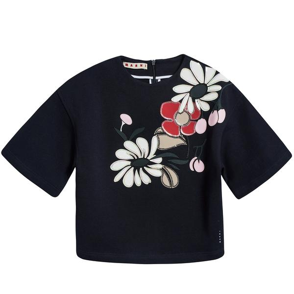 Girls Navy Blue Printed Cotton Sweater