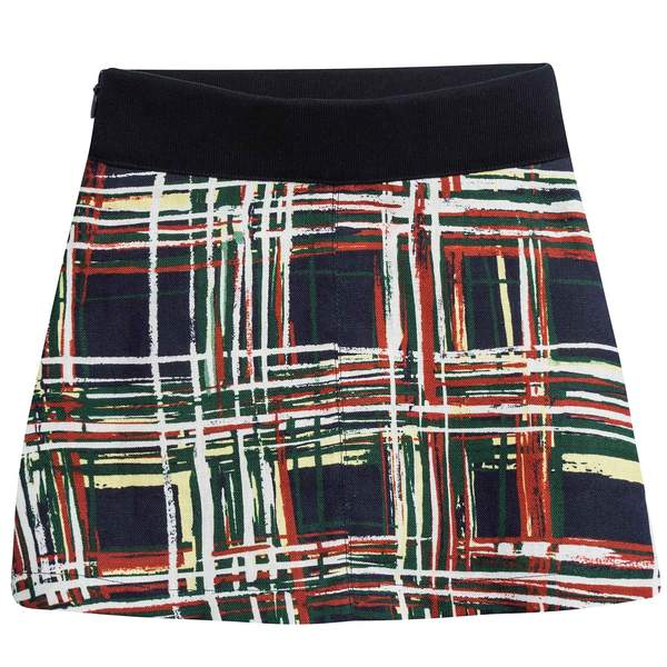 Girls Navy Blue Check Flax Skirt