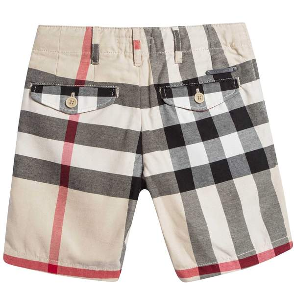 Boys  Beige Checked  Cotton  Shorts