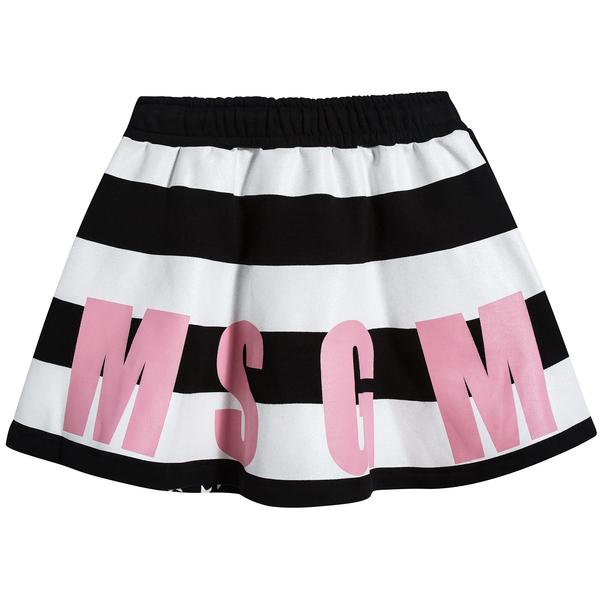 Girls Black & White Striped Cotton Skirt