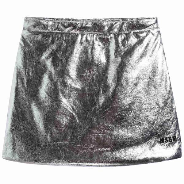 Girls Silver Eco Leather Skirt
