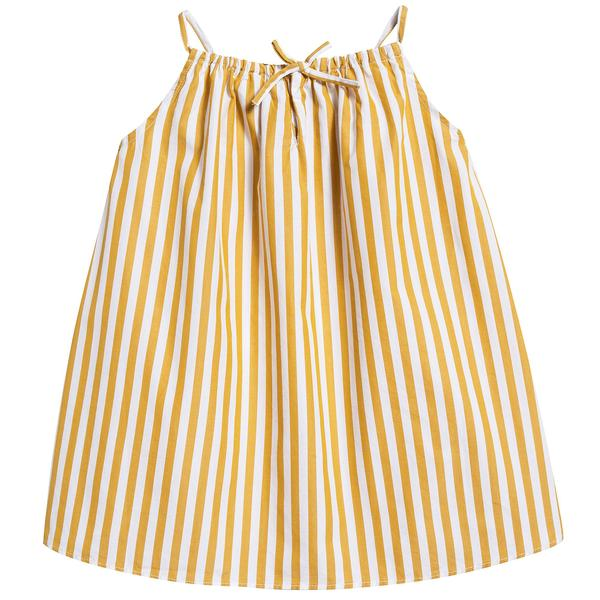 Baby Girls Yellow Stripe Cotton Woven Dress