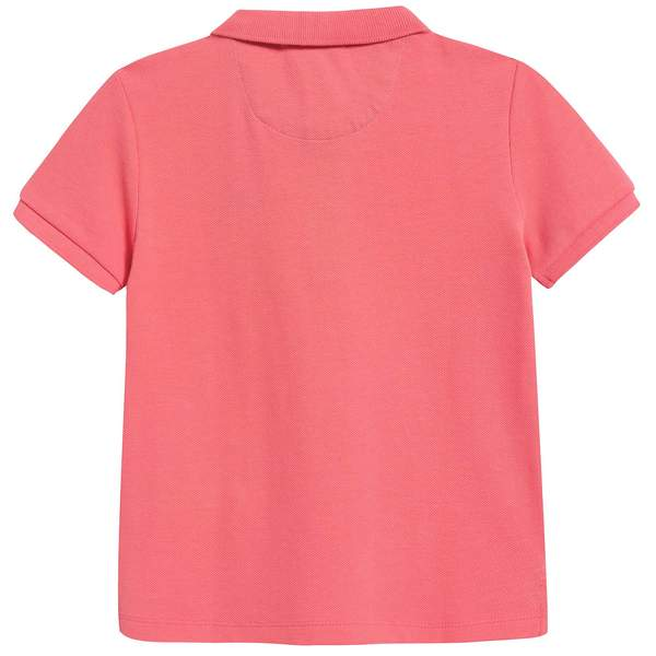 Boys Bright Coral Pink Cotton Polo Shirt