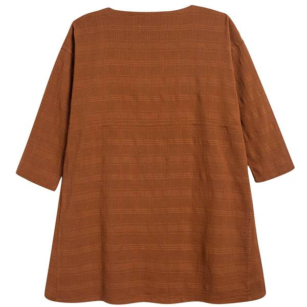 Girls Camel Cotton Woven Dress