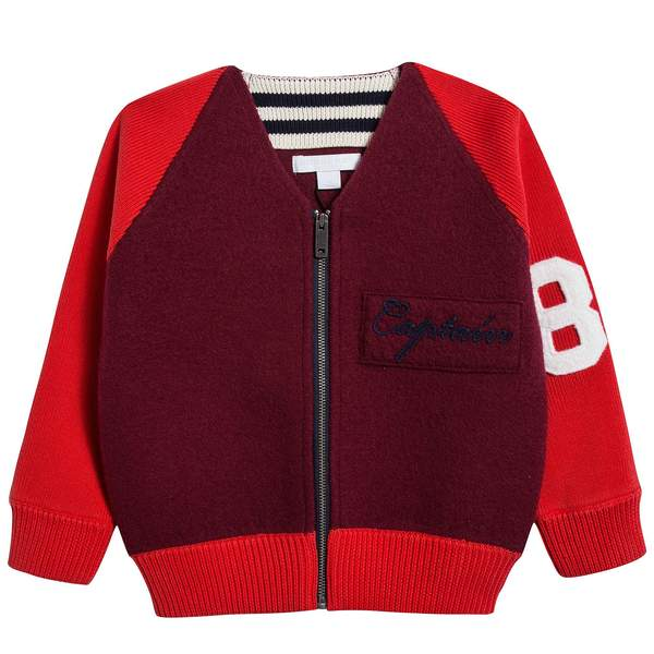 Boys Burgundy Merino Wool Cardigan