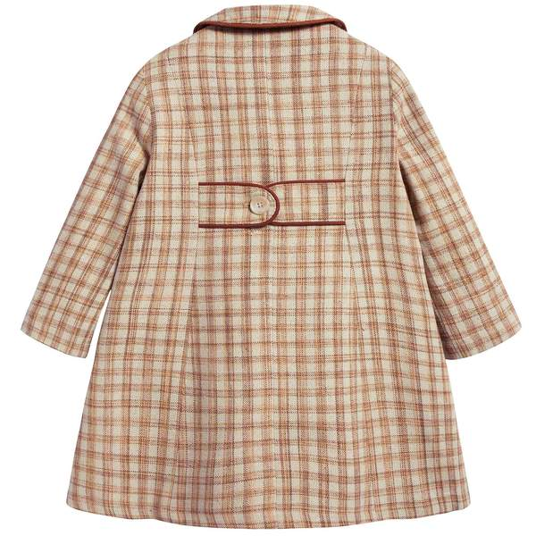 Girls Beige Check Cotton Woven Coat