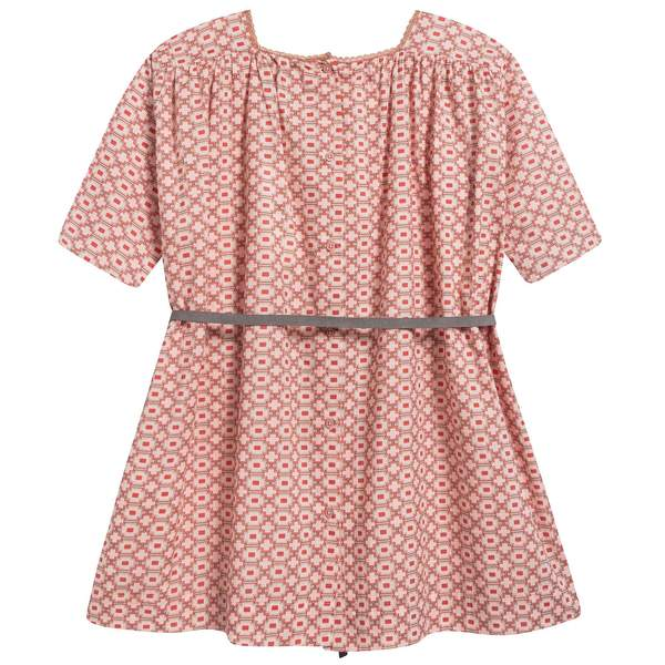 Girls Kaleido Red Cotton Woven Dress