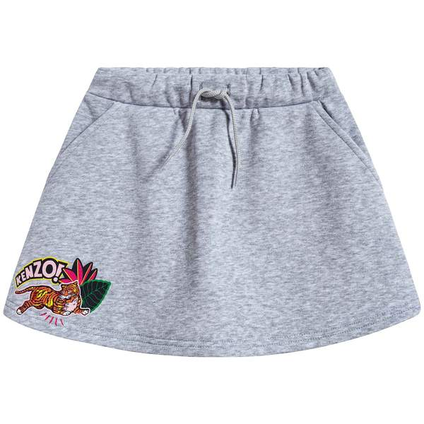 Girls Marl Grey Cotton Skirt