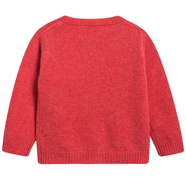 Baby Girls Red Rose Cashmere Knitwear Cardigan
