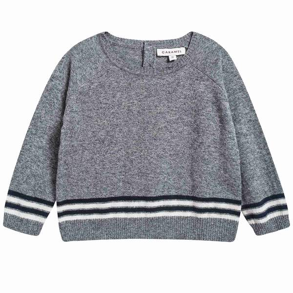 Baby Boys Charcoal Cotton Knitwear Jumper