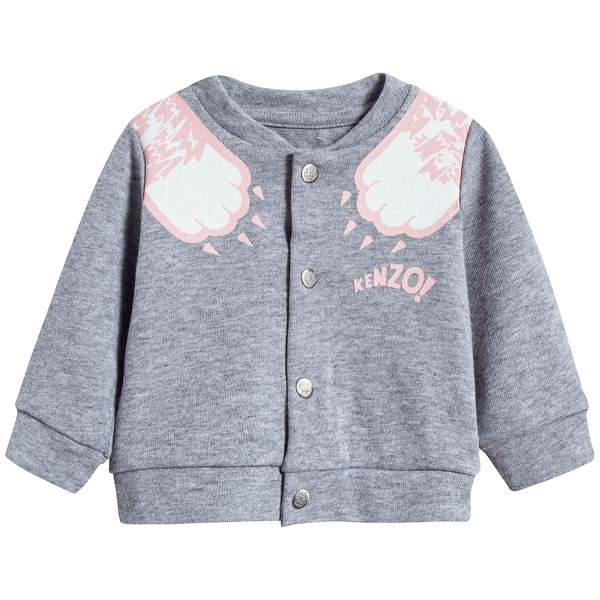 Baby Girls Marl Grey Cotton Cardigan