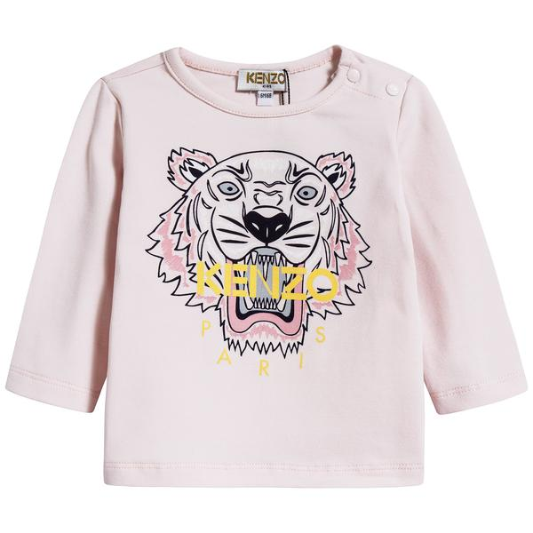Baby Girls Light Pink Tiger Cotton T-shirt