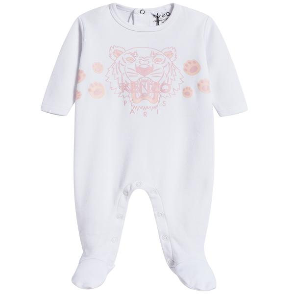 Baby Girls White Tiger Cotton Babysuit