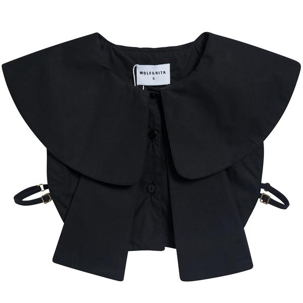 Girls Black Cotton Collar Top