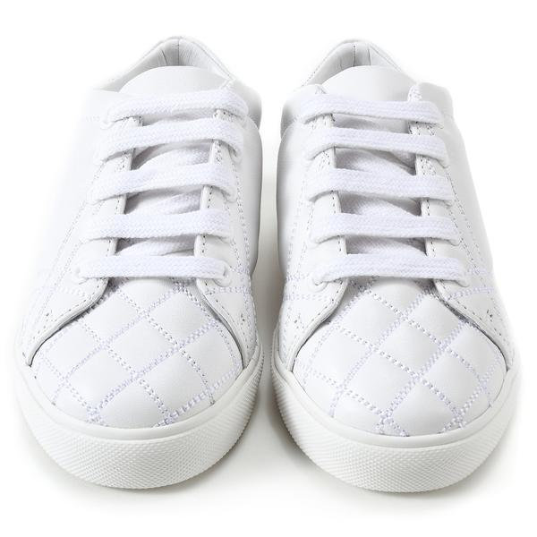 Baby Optic White Calf Grain Leather Trainers