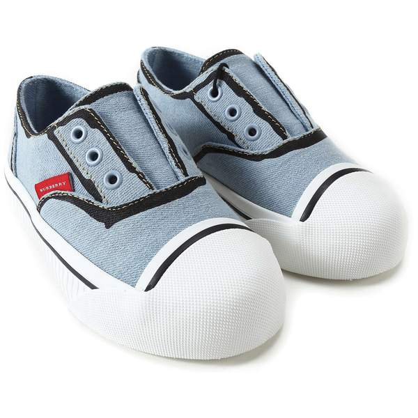 Baby Boys Light Blue Cotton Trainers