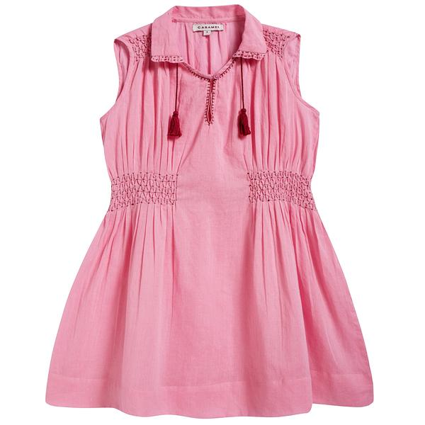 Girls Candy Pink Cotton Woven Dress