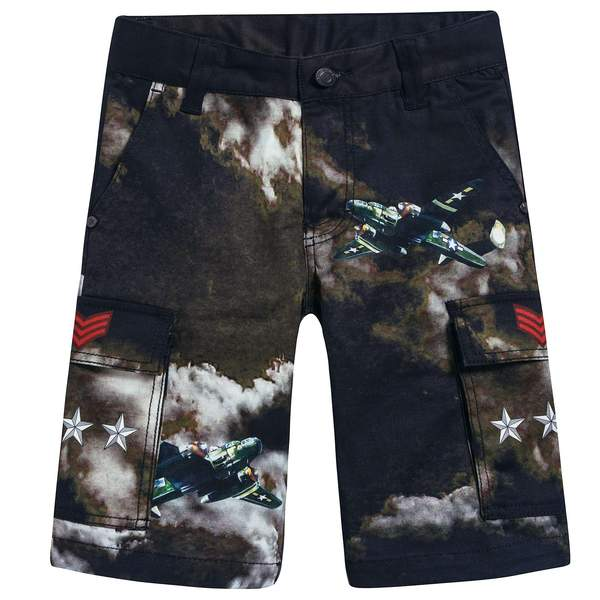 Boys Black Printed Cotton Shorts