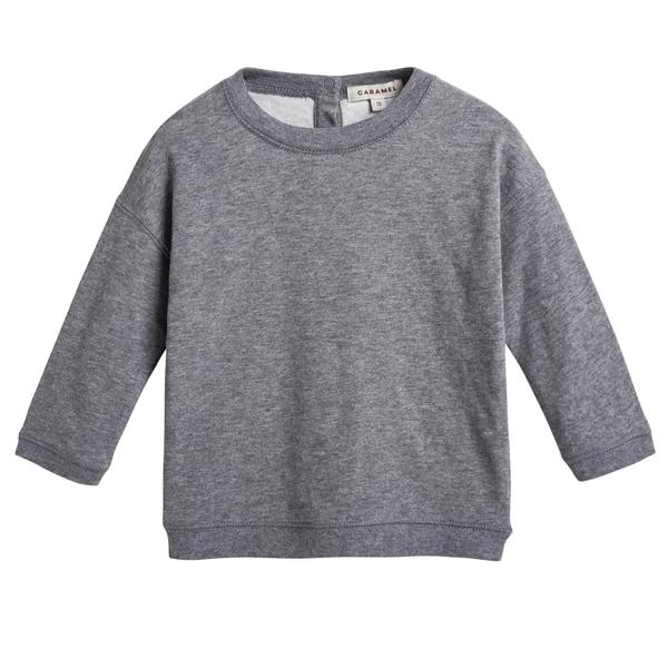 Baby Boys Grey Cotton Jersey Sweater - CÉMAROSE | Children's Fashion Store - 1