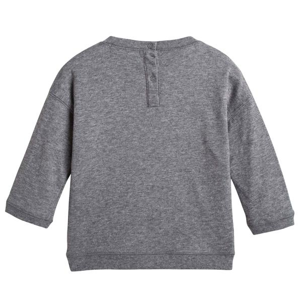 Baby Boys Grey Cotton Jersey Sweater - CÉMAROSE | Children's Fashion Store - 2