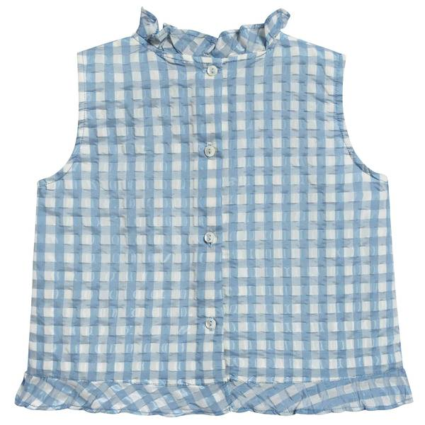 Girls Pale Blue Check Woven Top