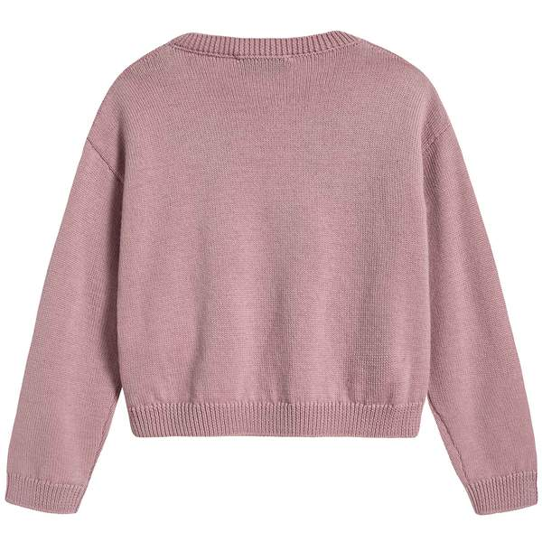 Girls Pink Heart Wool Sweater