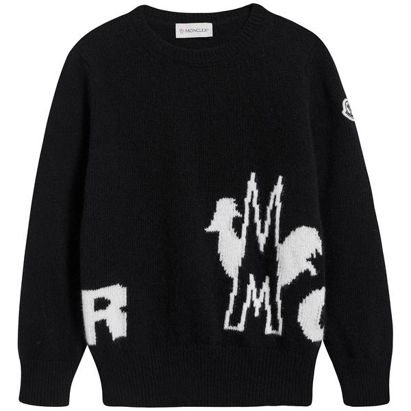 Boys & Girls Black Logo Wool Sweater