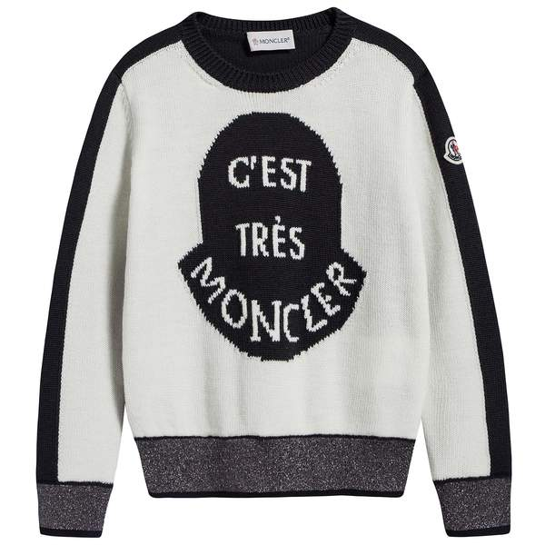 Girls White & Black Logo Wool Sweater