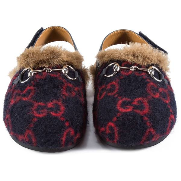 Girls Blue GG Faux Fur Shoes