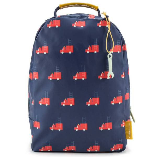 Girls Dark Blue Firetruck Printed Backpack(24 x 11 x 34 cm)