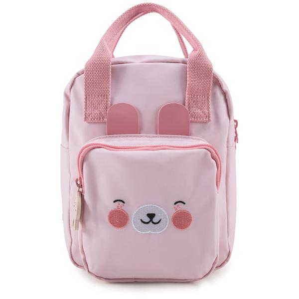 Girls Light Pink Bunny Faces Backpack(20 x 13 x 26 cm)