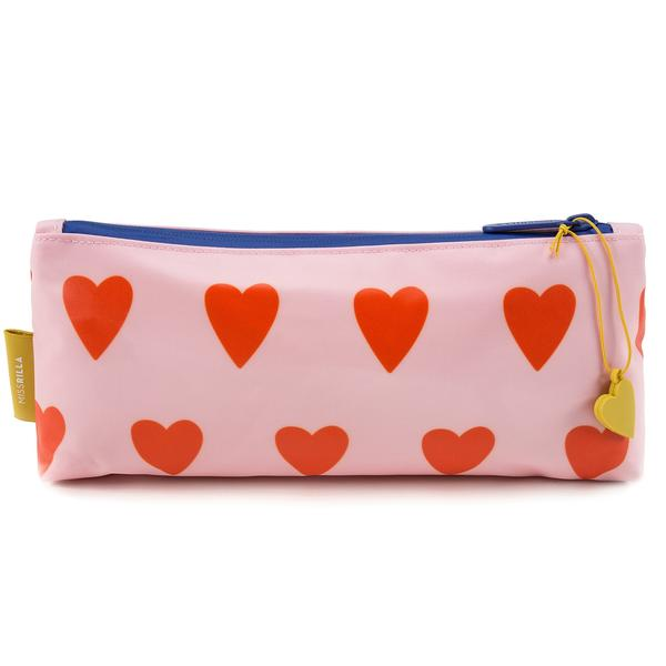 Girls Soft Pink & Orange Hearts Printed Pencil Pouch(29 x 13 cm)