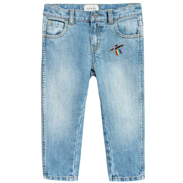 Baby Girls Blue Tapered Pants