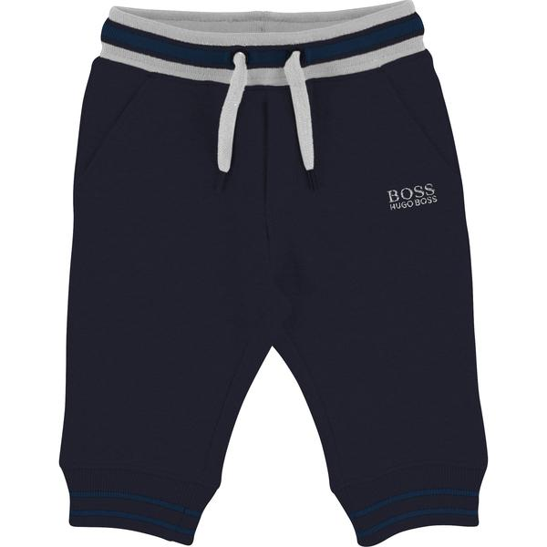 Baby Boys Blue Logo Cotton Trousers