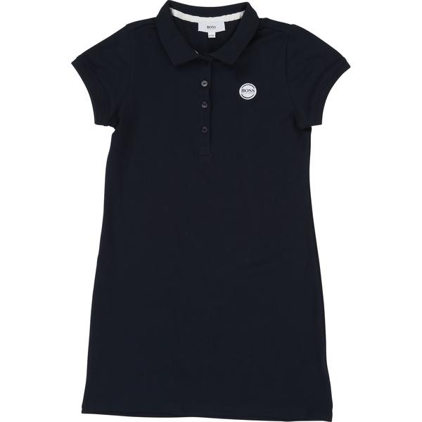 Girls Dark Blue Cotton Dress