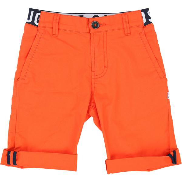 Boys Orange Red Cotton Shorts