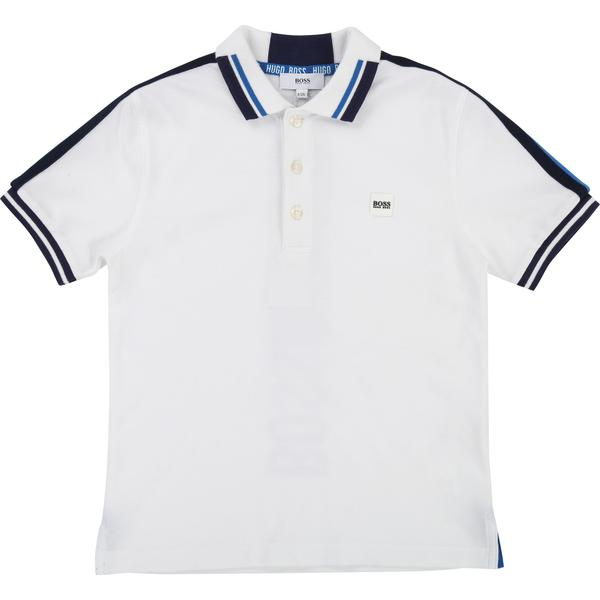 Boys White & Black Cotton Polo Shirt