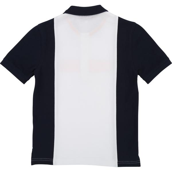 Boys Dark Blue & White Cotton Polo Shirt
