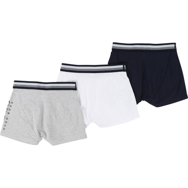 Boys White & Blue & Grey Cotton Underwear 3 Pack Gift Set