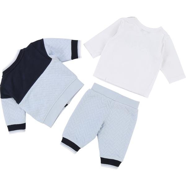 Baby Boys White & Light Blue Cotton Sets