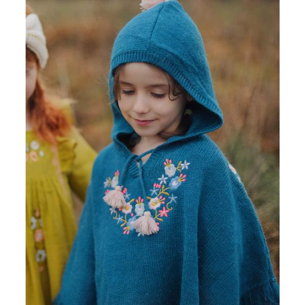 Girls Green Blue Acrylic Cape